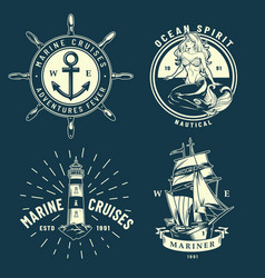 Vintage maritime and sea emblems set vector