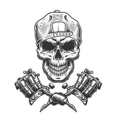 vintage tattoo master skull in cap vector image