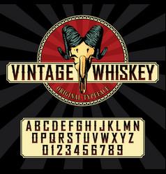 Vintage whiskey label font poster vector