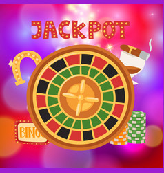 Wheel fortune with bets and jackpot casino vector
