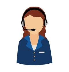Woman support operator headset service assistant vector