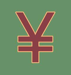 Yen sign cordovan icon and mellow apricot vector