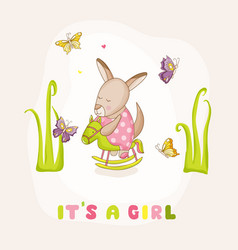 baby girl kangaroo on a horse - baby shower vector image vector image