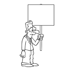 Black and white sad business man with protest sign vector image vector image