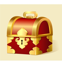 cartoon treasure chest with gold trim vector image vector image