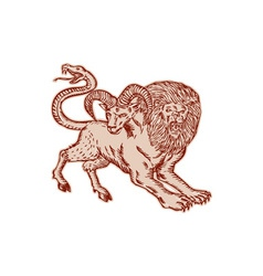 Chimera Pouncing Etching vector image