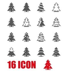 grey christmas tree icon set vector image vector image