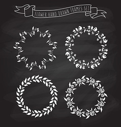 hand drawn flower and floral wreaths in f vector image vector image