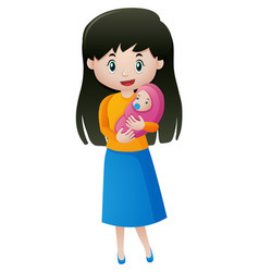 mother holding little baby vector image