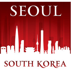 seoul south korea city skyline silhouette red vector image vector image