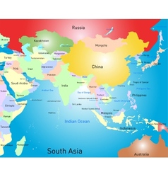 South asia map vector
