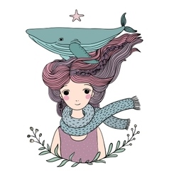 Beautiful young girl sailor with a whale in her vector