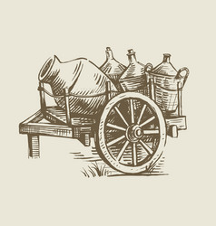 cart with wine vector image vector image