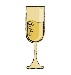 cartoon cup glass champagne love celebration vector image vector image