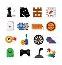 Gambling casino games flat icons set vector image vector image