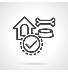 Pet accessories black line icon vector image