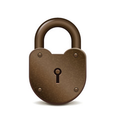 Retro lock isolated on white vector image