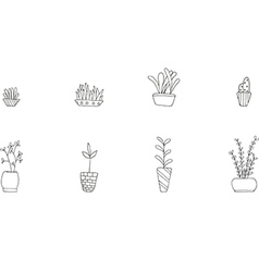 Set of cute potted plants vector image vector image