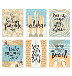 Set of summer holidays posters or greeting card vector image vector image