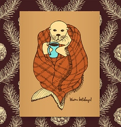Sketch seal in blanket vector image
