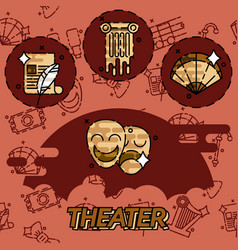 Theater flat concept icons vector