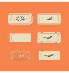 Ticket icons set isolated on orange vector image vector image