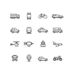 Transport line icons set vector image