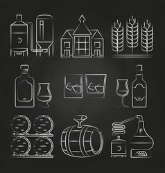whiskey process and icons on chalkboard vector image vector image