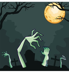 Zombies coming out of the grave at night vector image vector image