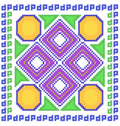 cross stitch embroidery geometrical design for vector image vector image