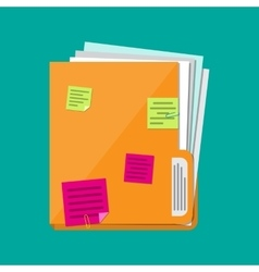 documents folder with paper sheets sticky notes vector image