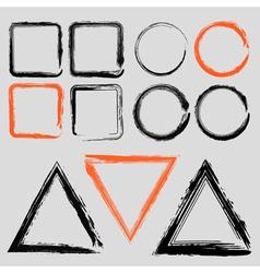 Set of grunge charcoal frames of different shapes vector image
