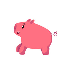 flat pink stylized cartoon pig vector image