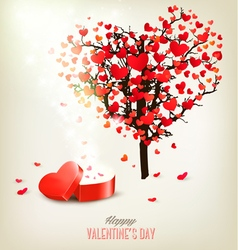 Heart shaped tree and a gift box valentines day vector
