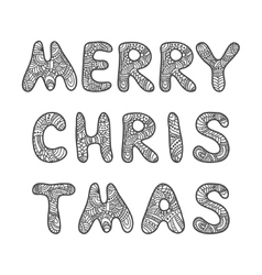 Merry Christmas lettering Adult coloring book vector image vector image