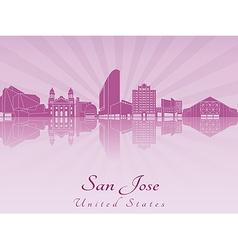 San Jose skyline in purple radiant orchid vector image vector image