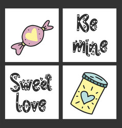 set of cute cards for st valentine s day vector image