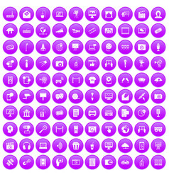 100 multimedia icons set purple vector image