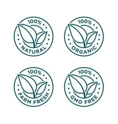 100 natural organic farm fresh gmo free icon set vector