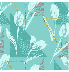 Abstract floral seamless pattern with tulips and vector