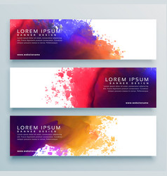 Abstract watercolor header banner design vector
