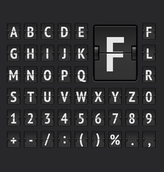 Airport flip scoreboard alphabet font with numbers vector