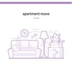 Apartment move line vector