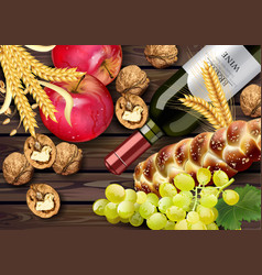 Autumn time banner realistic wine bottle vector
