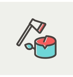 Ax and wood thin line icon vector