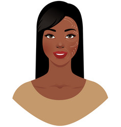 Beautiful african american woman with marks drawn vector