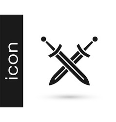 Black crossed medieval sword icon isolated on vector