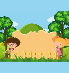 Border template with boy and girl in park vector