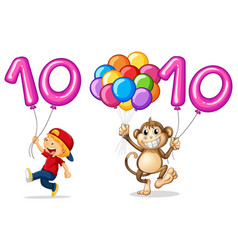 Boy and monkey with balloon for number 10 vector