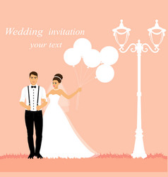 Bride and groom wedding card with the newlyweds vector